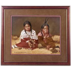 Cheyenne Boy and Girl with Dolls by L.A. Huffman