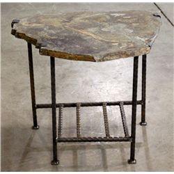 Flagstone & Wrought Iron Table