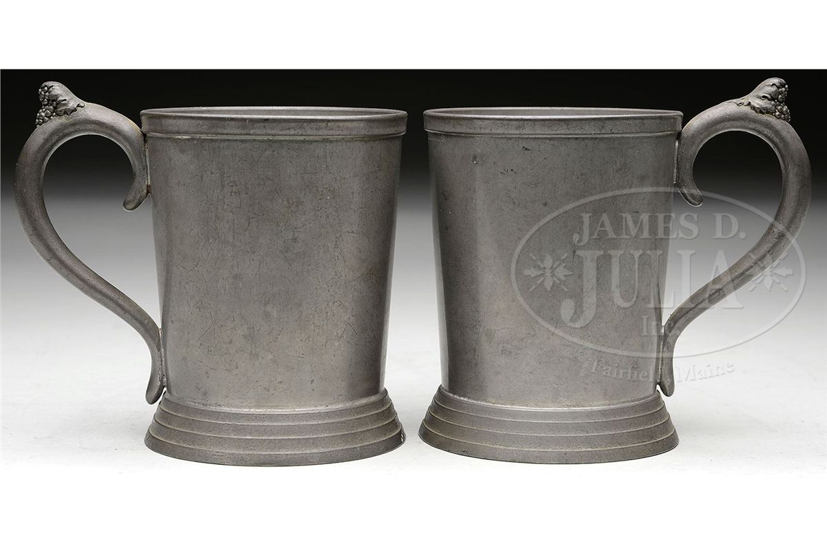 TWO PEWTER MUGS BY WOODMAN & COOK COMPANY