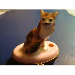 Authentic French porcelain Cat Limoges box signed