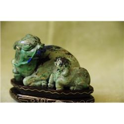 Azurite carving of a Beast with Cub