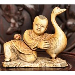Ivory carving of a boy and goose P. Republic of China