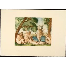 Cezanne Colored Etching Art Print - Five Bathers