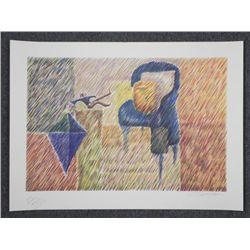 Charles Charlot Signed Artist Proof Print Figure & Kite