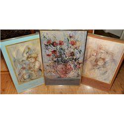 Three exhibition framed prints/ posters of Edna Hibel