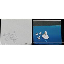 Ducks Orig Cel Background Drawing Pond Animation Art