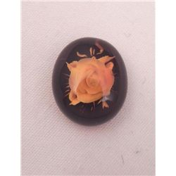 UNIQUE 2.69 CT NATURAL BROWN AMBER ROSE CARVING