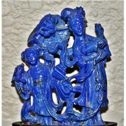 Lapis Lazuli carving on wooden base