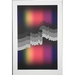 Mark Rowland Signed Abstract Art Print Rainbow Flowing