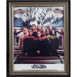 Star Trek Voyager Cast Signed Framed Photo w/COA