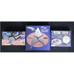 3 Star Trek Items: Phaser, Watch, Wall Clock MIB