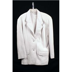 Nancy Heller Ladies White Leather Jacket Size M