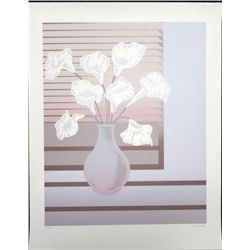 Del Valle Signed Calla Lily Flowers Large Art Print