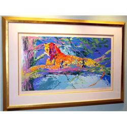 Kenya Leopard By Leroy Neiman Framed Museum Quality