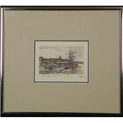 Fare French Art Print Boats in a Port Town Framed
