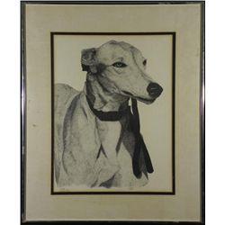 Joe Dean Pithius Original Drawing Greyhound Dog -Framed