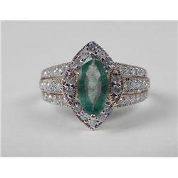 14K Yellow Gold Emerald Ring -Marquise Stone & Diamonds