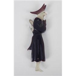 Antique 1800s Anti-Clerical Erotic Figural Snuff Spoon