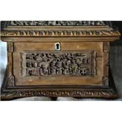 Antique Chinese heviliy carved boxwood jewelry box.