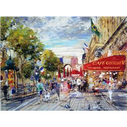 Kamil Kubik, Champs Elysee, Giclee on Canvas