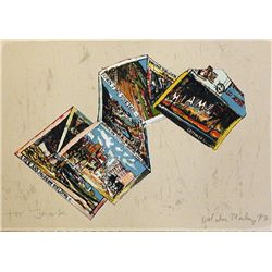 Malcolm Morley, Miami Postcard, Signed Lithograph