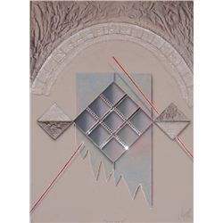 Luis Mazorra, Still Life II, Signed Etching w Collage