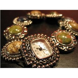 COSTUME JEWELRY FASHION WATCH SUROUNDED DECORTIVE COLOR POLISHED BEADS