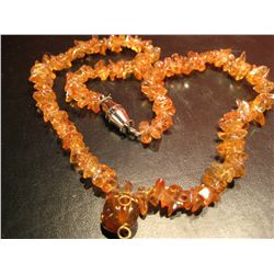 COSTUME JEWELRY VINTAGE BEADED AMBER ARTISAN NECKLACE