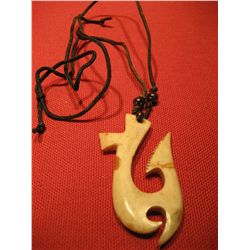 COSTUME JEWELRY POLISHED BONE PENDANT ARTISAN WITH LEATHER NECKLACE
