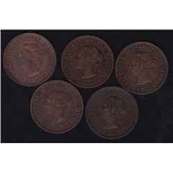 Lot of 5 1891 One Cent