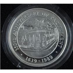 1989 Barbados $50 Silver Proof Coin