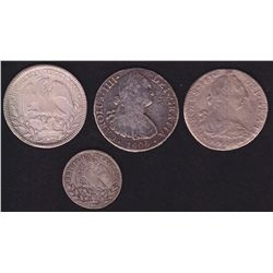 Lot of 4 Mexican Silver Coins