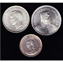 Lot of 3 Foreign Silver Coins