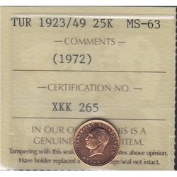 1923/49 (Issued 1972) Turkey 25 Kurush Gold Coin
