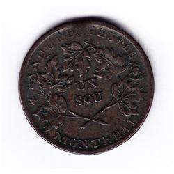 1837 Banque du Peuple Un Sou Token