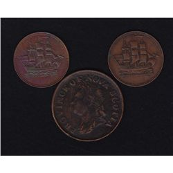 Lot of 3 Colonial Tokens
