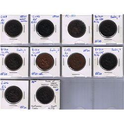 Lot of ten Bank Of Upper Canada Half Penny Tokens, BR 720.