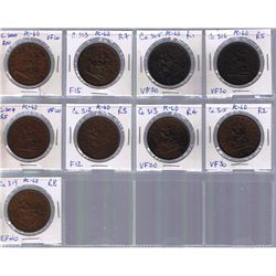 Lot of nine Bank Of Upper Canada Penny Tokens, BR 719.