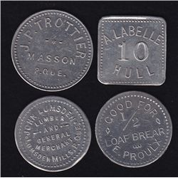 Lot of 4 Quebec Tokens