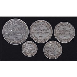 Set of 5 A.&R. Loggie General Merchants Tokens