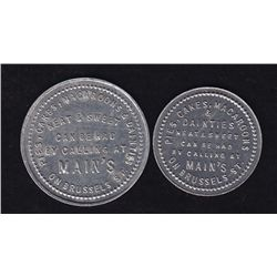 Lot of 2 Saint John, New Brunswick Bakery Tokens