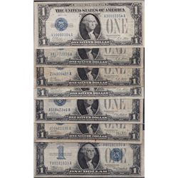 Lot of 7 USA Blue Seal $1 Silver Certificates