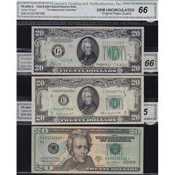Lot of 3 CGA Graded US $20 Banknotes.