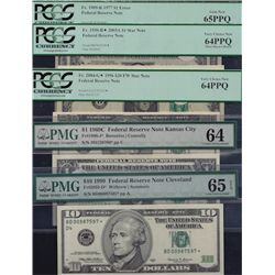 Lot of 5 Modern PMG/PCGS Graded USA Banknotes