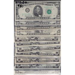 Lot of 14 USA Federal Reserve $5* Star Notes
