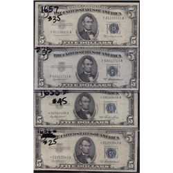 Lot of 4 USA 1953 Silver Certificates