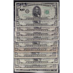 Lot of 13 USA Federal Reserve $5 Notes