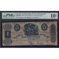 1851 Central Bank of New Brunswick 5 Pounds