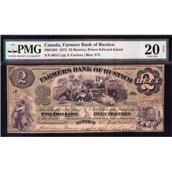 1872 Farmer's Bank of Rustico $2