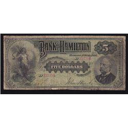 1892 Bank of Hamilton $5